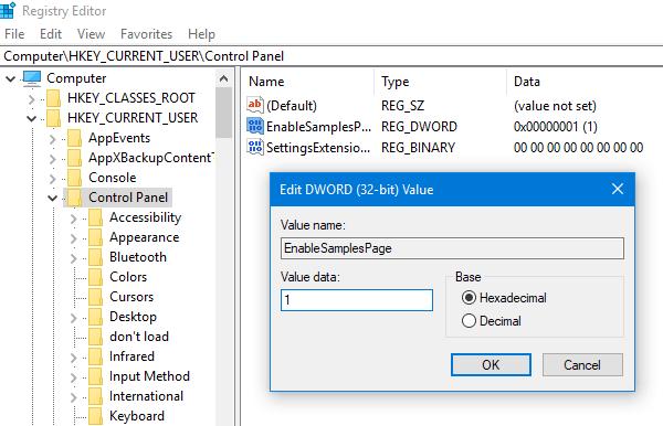 Cómo habilitar la página Muestras en la aplicación Configuración de Windows 10 1