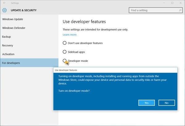 Cómo habilitar el modo de desarrollador en Windows 10 1