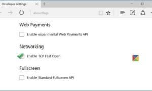 Habilitar TCP Fast Open en el navegador Edge para que las páginas se carguen más rápido