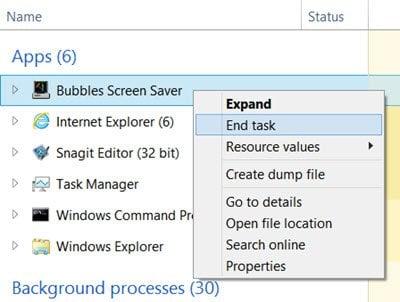Ejecutar el salvapantallas como fondo de pantalla en Windows 10/8/7