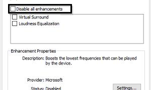 Desactivar las mejoras de audio en Windows 10