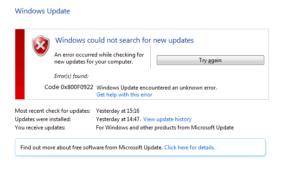 Fijar Windows 10 Update Error 0x800F0922