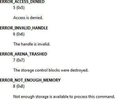 Errores de Windows, mensajes de error del sistema y códigos: Lista completa y significado 3