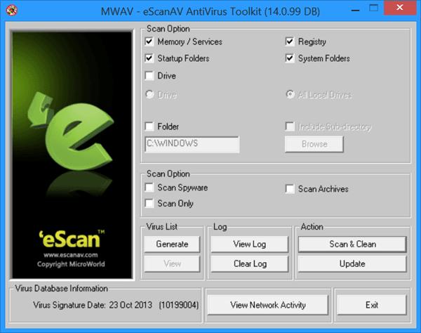 Kit de herramientas antivirus eScanAV autónomo y gratuito MWAV para Windows 1