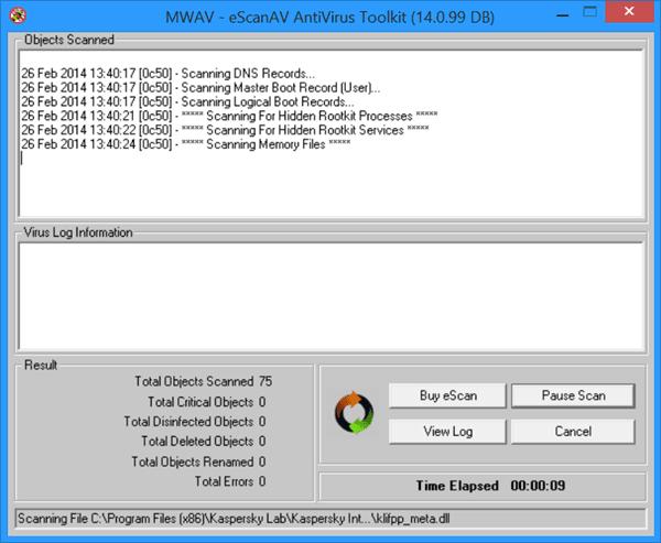 Kit de herramientas antivirus eScanAV autónomo y gratuito MWAV para Windows