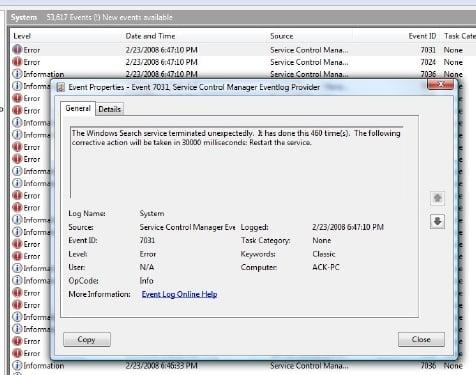 Windows Search Indexer no funciona 6