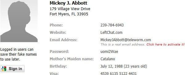 Generar nombre falso en línea y la identidad de forma gratuita!