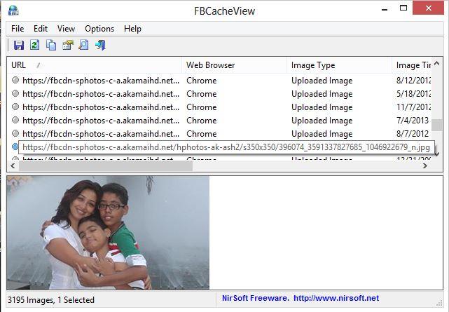 FBCacheView : Ver imágenes de Facebook almacenadas en la caché del navegador