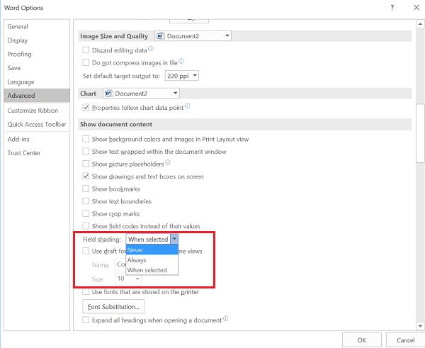 Cómo desactivar o eliminar el sombreado de campos en Word 2016