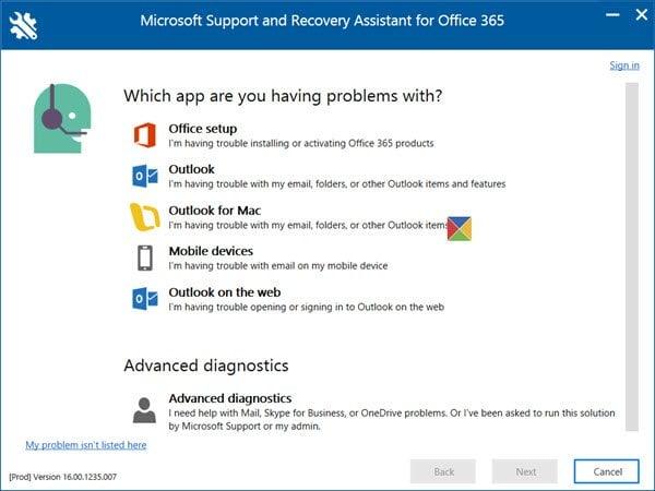 Herramienta para solucionar problemas de Outlook y Office 365 con un solo clic