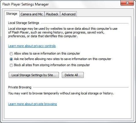 Administración y comprensión de la configuración de Flash Player en Windows 10 / 8 / 7