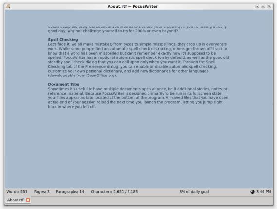 FocusWriter: Un procesador de texto libre de distracciones para escritores