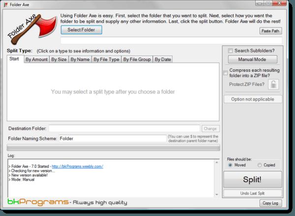 Dividir carpetas de gran tamaño con Folder Axe - Una herramienta de división de carpetas para Windows 7