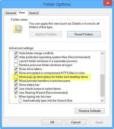 Desactivar la descripción emergente de los elementos de carpeta y escritorio en Windows 10/8.1