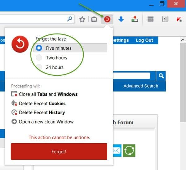 Añade el nuevo botón Olvidar a Firefox para borrar el historial de navegación al instante.