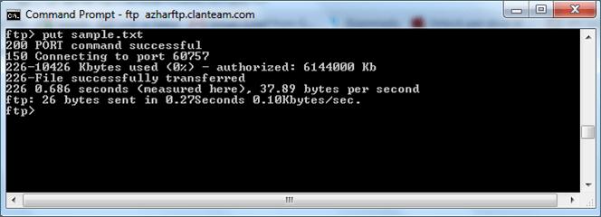 Acceso al servidor FTP mediante el símbolo del sistema de Windows 2