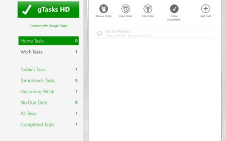 gTasks HD: aplicación de Windows 8 para gestionar su lista de tareas y tareas pendientes
