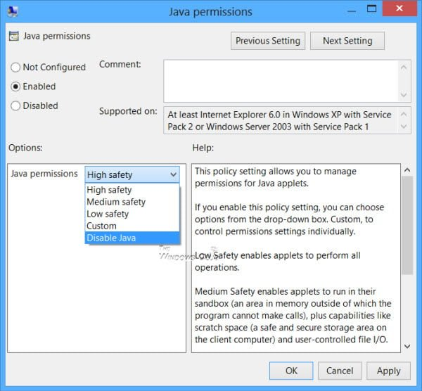 Desactivar o cambiar los permisos de Java mediante el Editor de directivas de grupo de Windows