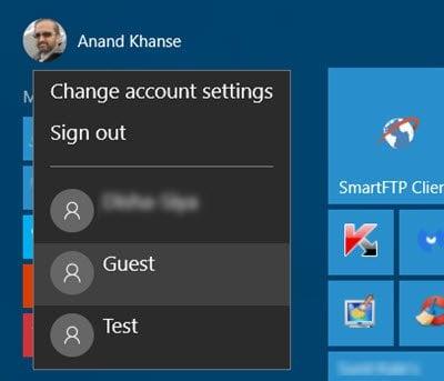 Administración, Estándar, Trabajo, Escuela, Niño, Cuenta de Invitado en Windows 10