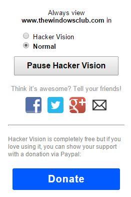 Hacker Vision para Chrome, hace que la navegación nocturna sea fácil para los ojos