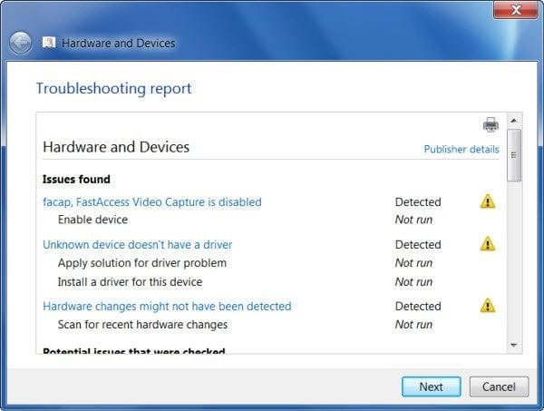 Solucionar problemas de hardware y dispositivos de Windows con el Solucionador de problemas