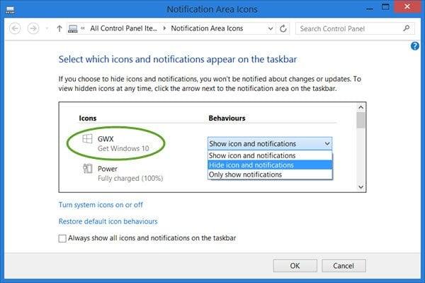 Quitar el icono de Windows 10 App de la barra de tareas de Windows 8.1 / 7
