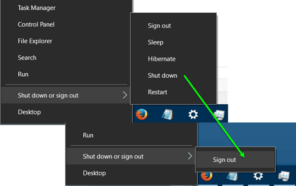 Quitar el botón de encendido o apagado de la pantalla de inicio de sesión, menú Inicio, menú WinX en Windows