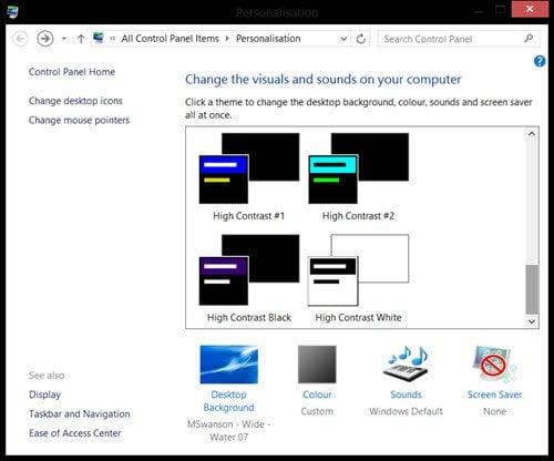 Activar temas de alto contraste en Windows 10 3