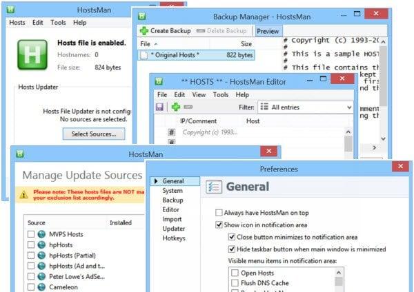 Bloquear, administrar y editar archivos de hosts en Windows 10/8/7