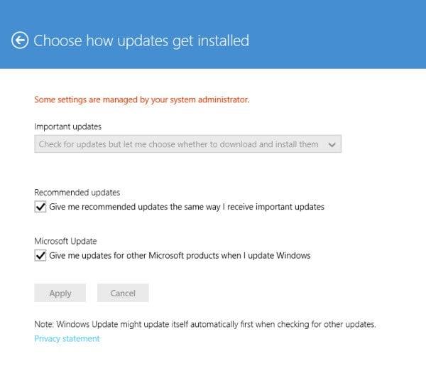Opciones de Windows Update y Recovery en Windows 8.1 3