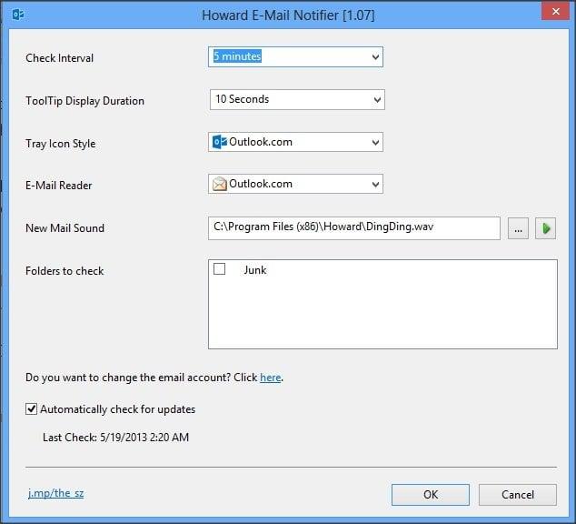 Notificador de correo electrónico para Outlook.com 3