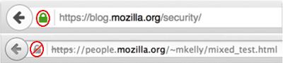 Cómo desactivar el icono de conexión insegura en la barra de direcciones del navegador Firefox 1