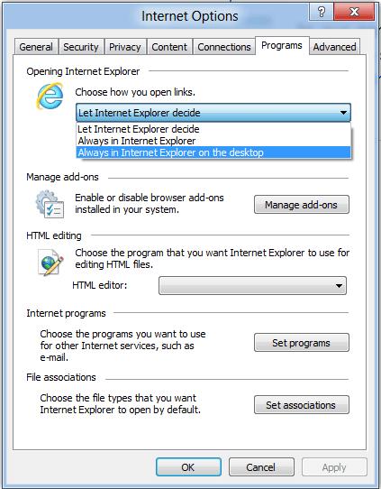 Hacer de Internet Explorer en Windows 8, siempre abrir los enlaces en el escritorio