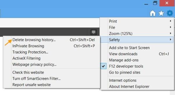 Limpie la caché de Internet y las cookies para un dominio en particular sólo en IE, rápidamente. 1