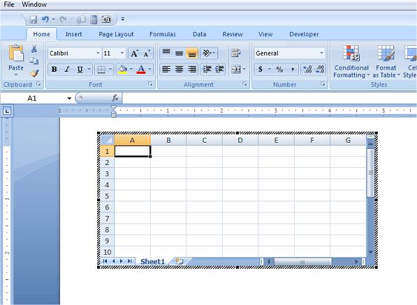 Cómo insertar una hoja de cálculo Excel en un documento de Word 1