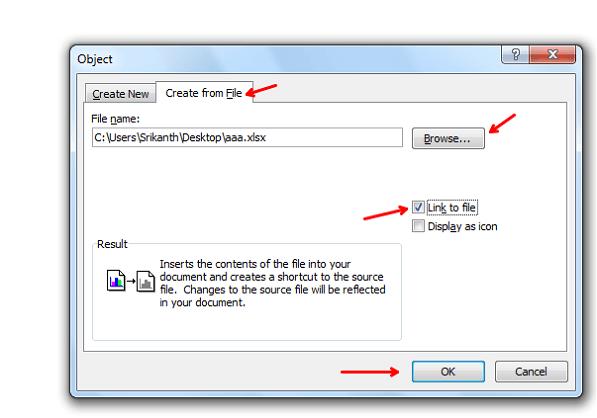 Cómo insertar una hoja de cálculo Excel en un documento de Word 6