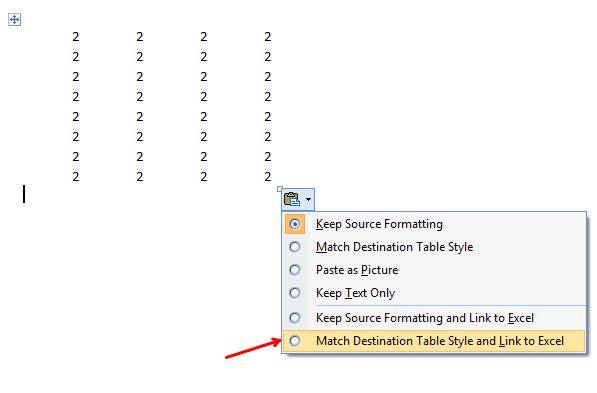 Cómo insertar una hoja de cálculo Excel en un documento de Word 2