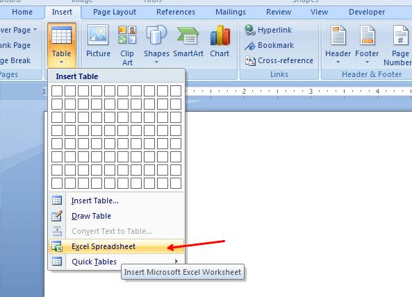 Cómo insertar una hoja de cálculo Excel en un documento de Word 8