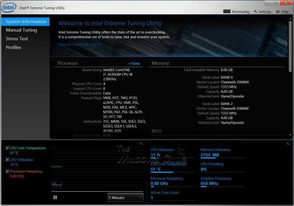 La Utilidad Intel Extreme Tuning para Windows le permite overclockear la velocidad de la CPU, la memoria y el bus.