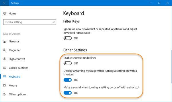 Configuración de teclado de fácil acceso en Windows 10 1