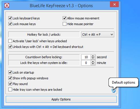 Cómo bloquear el teclado y el ratón en Windows con BlueLife KeyFreeze