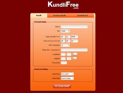 Software de creación de Kundli y herramientas en línea gratuitas para PC con Windows