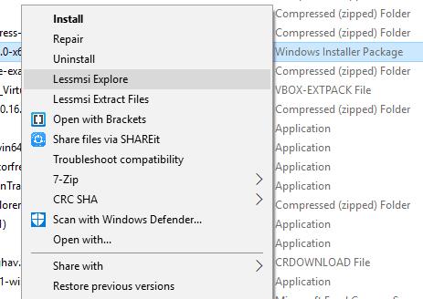 Extraer y ver el contenido de un archivo del instalador MSI con lessmsi