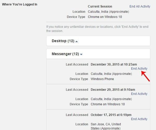 Cómo cerrar la sesión de Facebook Messenger en Windows Phone