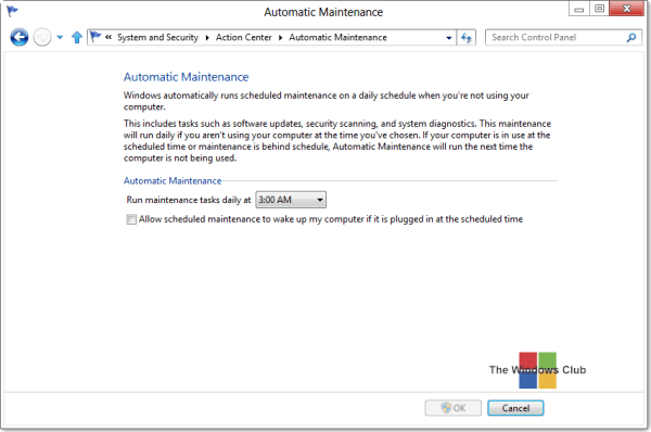 Run, stop, schedule, disable automatic maintenance in Windows - Frequently Asked Questions 3
