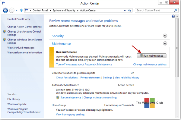 Run, stop, schedule, disable automatic maintenance in Windows - Frequently Asked Questions 4