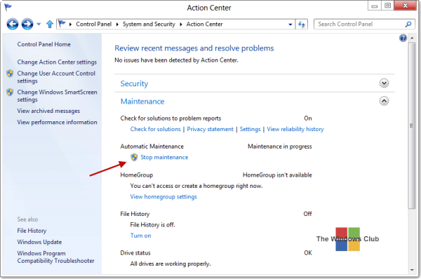 Run, stop, schedule, disable automatic maintenance in Windows - Frequently Asked Questions 5