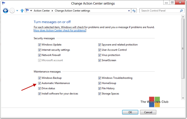 Run, stop, schedule, disable automatic maintenance in Windows - Frequently Asked Questions 2