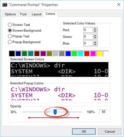 Símbolo del sistema operativo en Windows 10 - ¡Hágalo transparente! 1