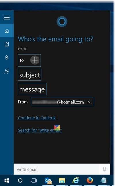 Usar comandos de voz para escribir Email usando Cortana en Windows 10